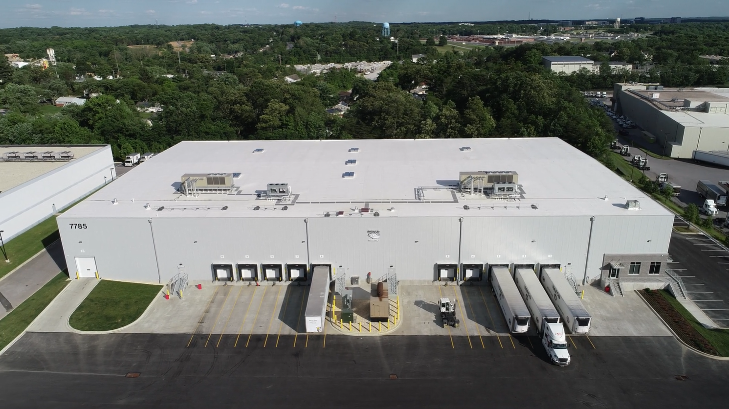 Drone aerial of NAFCO seafood distribution center in Jessup, MD