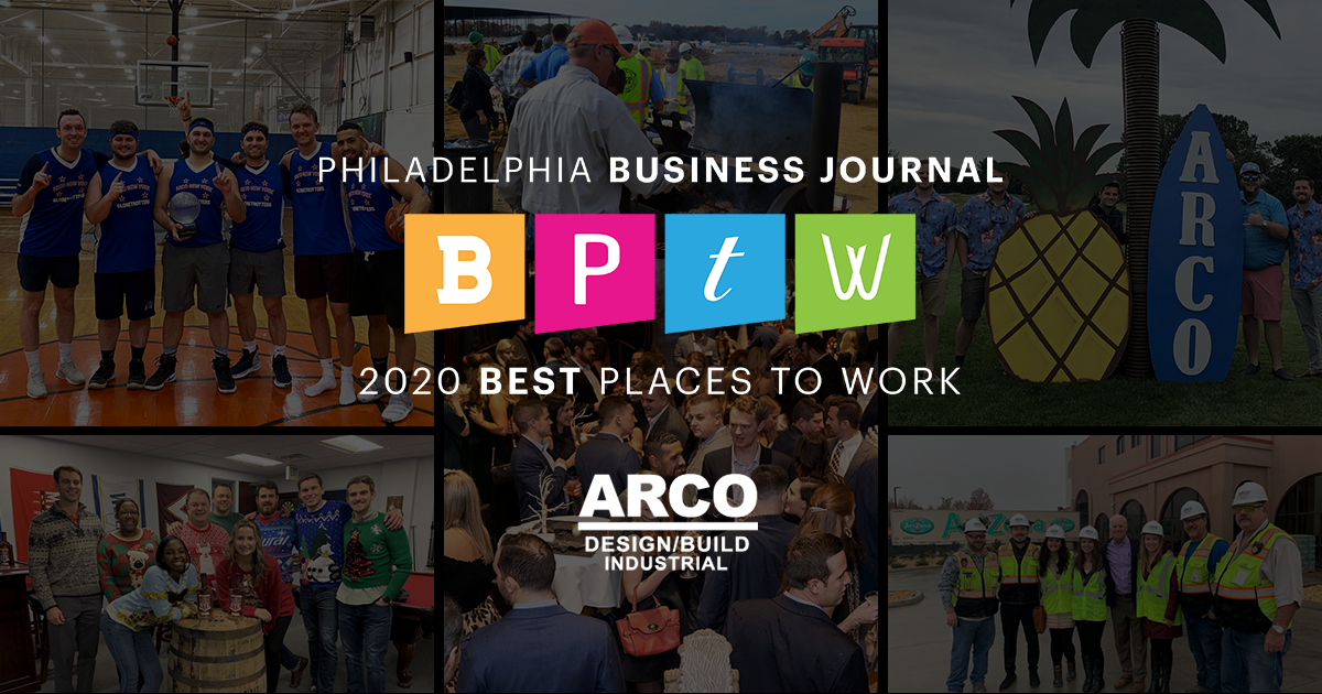 ARCO collage with overlay of Philadelphia Best Places to Work 2020 logo