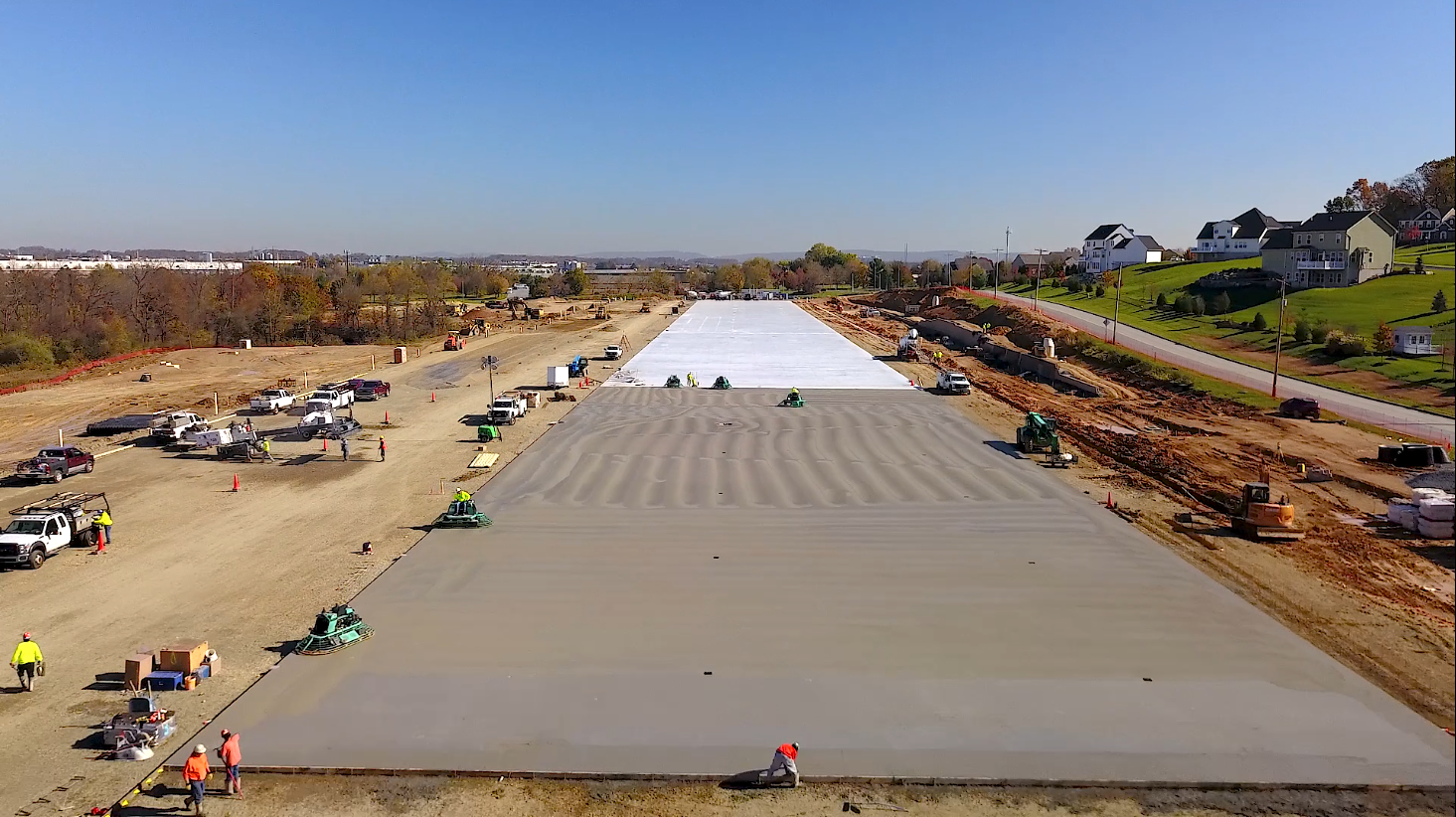 Aerial of construction site for NFI warehouse in Lehigh Valley, PA